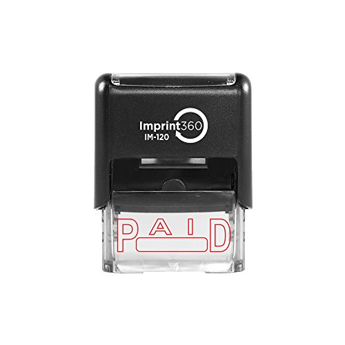 Imprint 360 AS-IMP1012 - PAID w/Signature Box, Heavy Duty Commerical Quality Self-Inking Rubber Stamp, Red Ink, 9/16