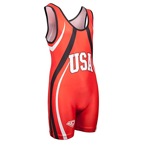 KO Sports Gear's Red USA Wrestling Singlet - Olympic Style (Adult L : 135 - 165 lbs - Singlet Usa Running