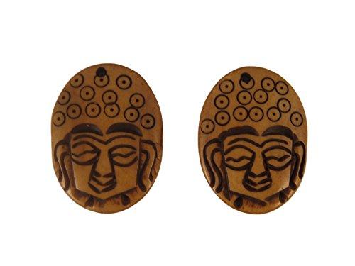 - Natural Brown Buddha Hand Carved Yak Bone Buddhist Pendant Charm - Pack of 2 - Eco-friendly Fair Trade
