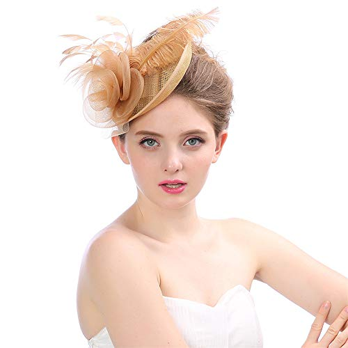 (Ybriefbag-Clothing Women's Elegant Fascinator Hat Cocktail Hat Bridal Feather Hair Clip Accessories Match Royal Ascot (Champagne) for Girls and Women (Color :)