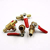 Brass Ball Valve SENRISE 6mm Shut Off Valve Barbed Hose Pipe Joiner Faucet Connector Adapter for Water Gas Oil Pack of 1