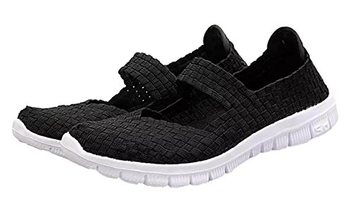 CAMSSOO Women's Woven Stretch Mesh Loafers Fashion Sneakers Breathable Slip-on Walking Shoes All Black Size US6 EU37