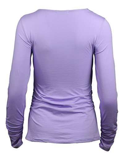 Maramita Long Sleeve Cotton Nursing Top with Cowl Neck for Easy Breastfeeding (Large, Lavender) by Maramita (Image #2)