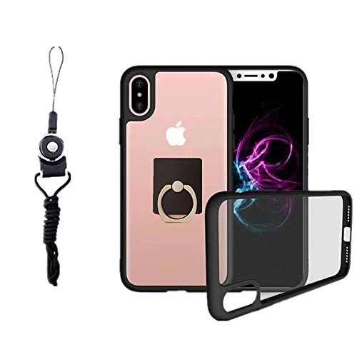 Case for Apple iPhone X , Anti-drop Protection Shell Case with Adjustable Detachable Neck Lanyard Hanging Neck Strap Lanyard and Ring Holder Cover for iPhone 10 5.8 inch (Black for iPhone X)