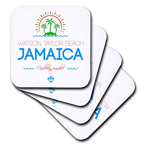 Taylor Ceramic Coasters - 3dRose Alexis Design - Caribbean Beaches Jamaica - Watson Taylor Beach, Jamaica elegant text, images. Gift, souvenir - set of 8 Ceramic Tile Coasters (cst_313596_4)