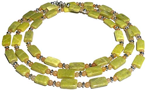 - Noble serpentine, agate long necklace; Lime green and off-white natural gemstones beaded necklace; Handmade in Washington State;