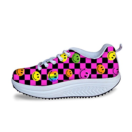 Fitness Walking Sneaker Emoji Checkered Flag Print Casual Women's Wedges Platform Shoes (35, Emoji Checkered Flag) ()