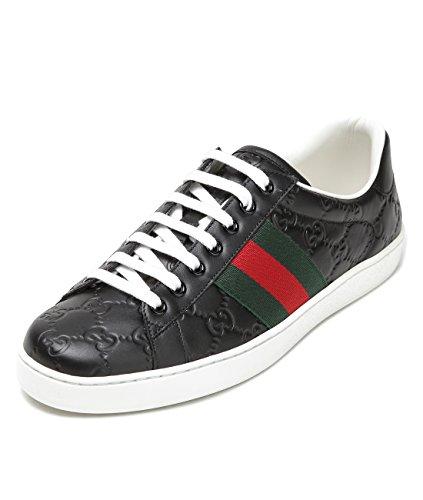 Wiberlux Gucci Women's Logo Patterned Stripe Panel Sneakers 9.0 Black