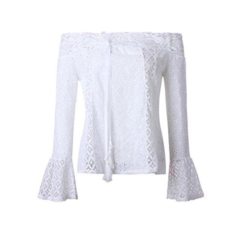 Tongshi Mujeres Fuera Del Hombro de Manga Larga de Encaje Blusa Suelta Tops T-Shirt Blanco