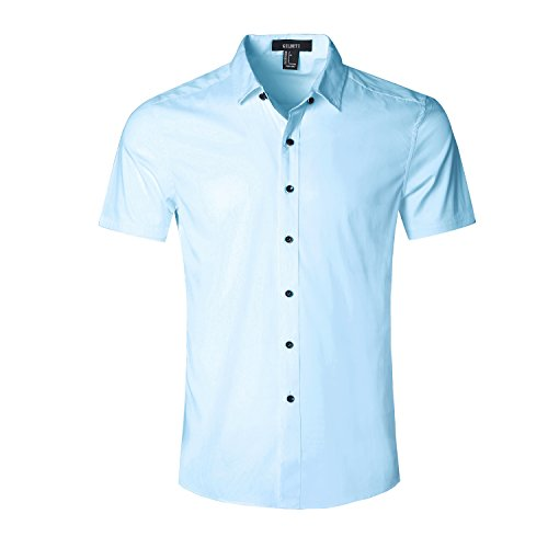GILBETI Men's Slim Fit Solid Dress Shirts Button Down Cotton Short Sleeve Shirt Light BlueX-LARGE