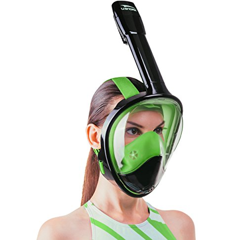 Usnork Full Face Snorkel Mask, Easy-breath Snorkeling Gear, Anti-Fog and Anti-Leak Snorkel Set with Exceptional Panoramic View, Waterproof Phone Bag and Towel Included (Black-Green, - Best Wetsuits 2017