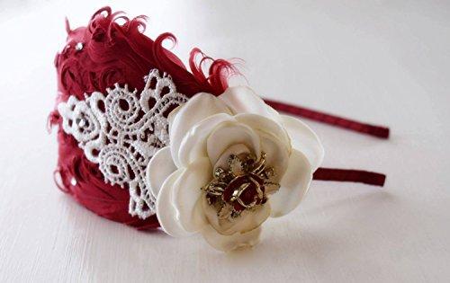 Vintage Jewelry Headband - Adult Headband - Red and Ivory Headband - Feather Headband - Red Rose Headband - Flapper Girl Headband - Bows
