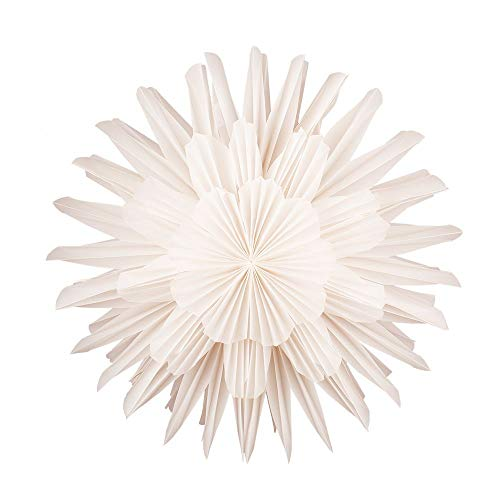 Quasimoon Paperlanternstore.com 17 Inch White Frill Premium Handcrafted Paper Flower Lantern Light Decoration ()