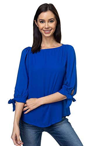 VIA Jay Women's Basic Casual Relaxed Loose 3/4 Sleeve Blouse Top (Blue, X-Large) ()