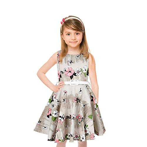 (Girls 50s Sleeveless Vintage Print Flowers Girls Dresses Swing Rockabilly Summer Dresses for Party Special Occasion)