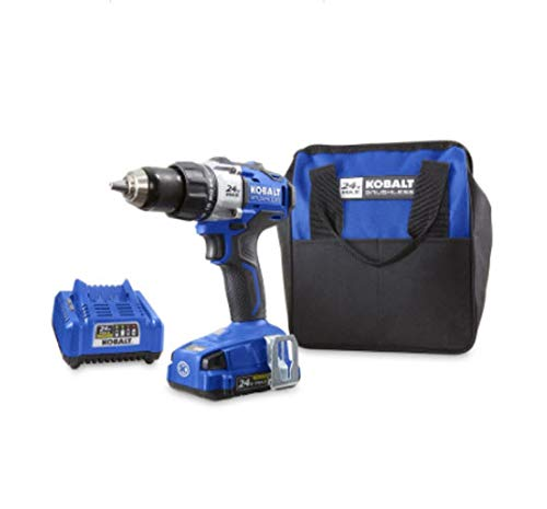 Kobalt 24-Volt Max Lithium Ion (Li-ion) 1/2-in Cordless Brushless Drill with Battery and Soft - Drills Discount Cordless