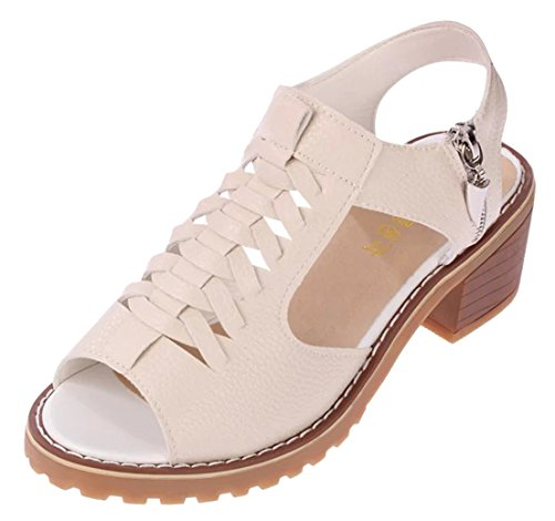 femaroly Sandals Female Summer Flat Waterproof Sandals Zipper Retro Walking Shoes for Women and Girls Ladies Beige 5.5M