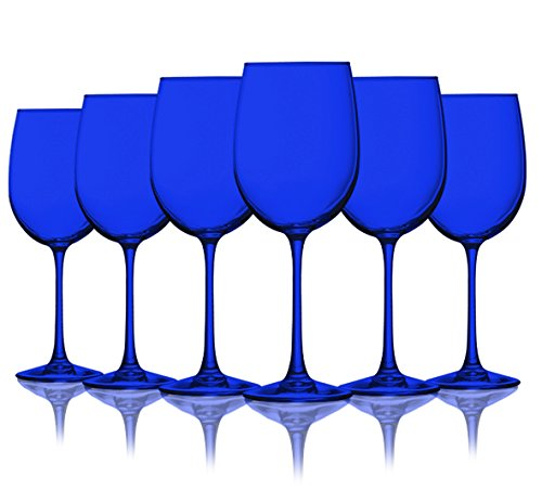 Cobalt Blue Colored Wine Glasses - 19 oz. set of 6- Additional Vibrant Colors Available