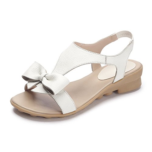 AmoonyFashion Womens Elastic Open Toe Low-heels Cow Leather Solid Wedges-Sandals Beige iSwSpyN