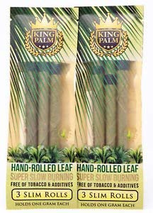 King Palms Slim Size Natural Slow Burning Pre-Rolled Palm Leafs with Filter Tip (