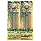 King Palms Slim Size 100% Natural Slow Burning Pre-Rolled Leaves with Filter Tip - No Artificial Flavours (2 Packs, 6 Wraps)