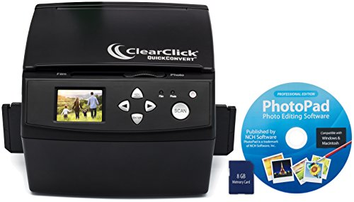 ClearClick 20 MP QuickConvert Photo, Slide, and 35mm Negatives To Digital Converter with PhotoPad Software & 8 GB Memory Card by ClearClick