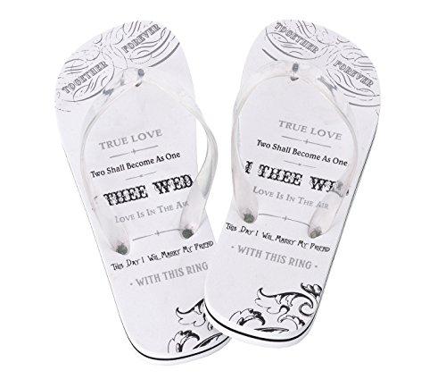 (Lillian Rose Women Medium 7-8 Just Married Imprint Honeymoon Flip Flops)