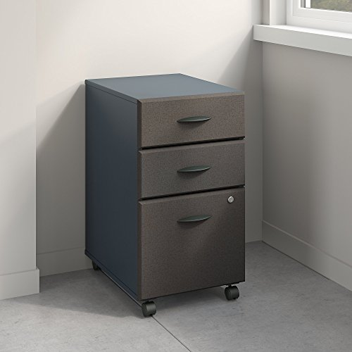 Bush Business Furniture Series A 3 Drawer Mobile File Cabinet in Slate and White Spectrum by Bush Business Furniture