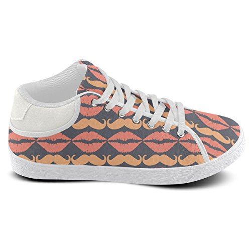 Mustache Charcoal Lips Artsadd Orange For Chukka and Hipster Men Model003 Shoes Canvas Ugwpwq