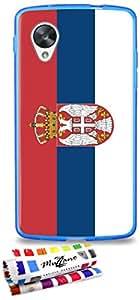 Carcasa Flexible Ultra-Slim GOOGLE NEXUS 5 de exclusivo motivo [Bandera Serbia] [Azul] de MUZZANO  + ESTILETE y PAÑO MUZZANO REGALADOS - La Protección Antigolpes ULTIMA, ELEGANTE Y DURADERA para su GOOGLE NEXUS 5