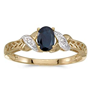 0.39 Carat (ctw) 10k Gold Oval Blue Sapphire and Diamond Crossover Infinity Antique Promise Fashion Ring (6 x 4 MM)