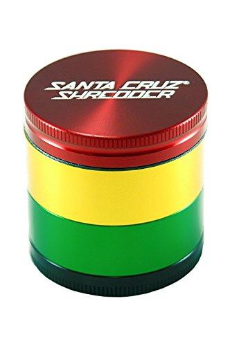 Santa Cruz Shredder 4 Piece Rasta Colored Aluminum Grinder - Medium 53mm 3 Stage Sifting Grinder - 2.1 Inches Wide