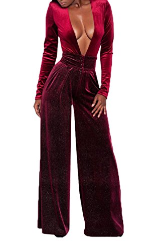 VamJump Ladies Sexy Party Deep V Neck Velour Wide Leg Jumpsuit Pants Burgundy M (Velour Wide Leg)