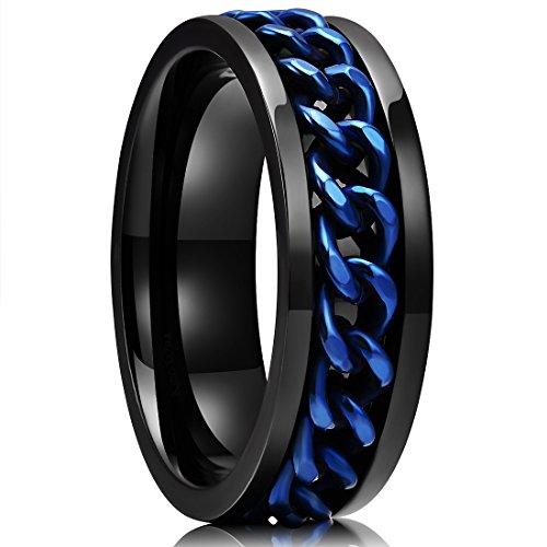 Chain Spinner (King Will Stainless Steel 8mm Rings For Men Center Chain Spinner Ring, Size 8)