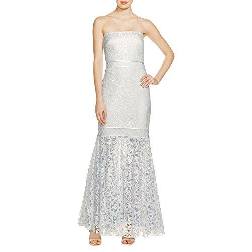Tadashi Shoji Ivory/Ice Blue Lace Overlay Strapless Gown (2)