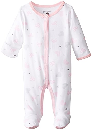 Petit Lem Baby-Girls Newborn Bow Heart Footed Sleeper, A Bow Heart, Newborn