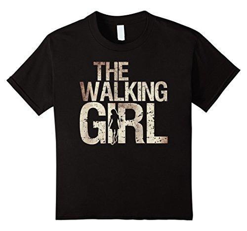 Kids Walking Girl Shirt Zombie Woman Teen Kid Mother's Day Tee 10 Black (Walking Dead Zombie Girl)