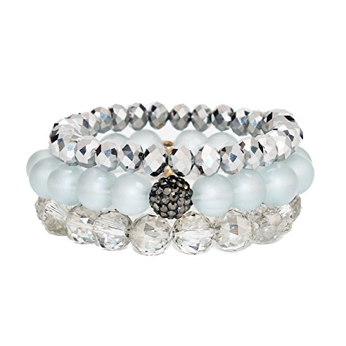 POMINA Stackable Multi Layered Round and Faceted Glass Beaded Stretch Bracelets with Pave Ball, Set of 3(Grey)