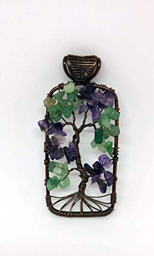 Amethyst Aventurine Pendant Necklace ~ Tree of Life ~ 2 5/8