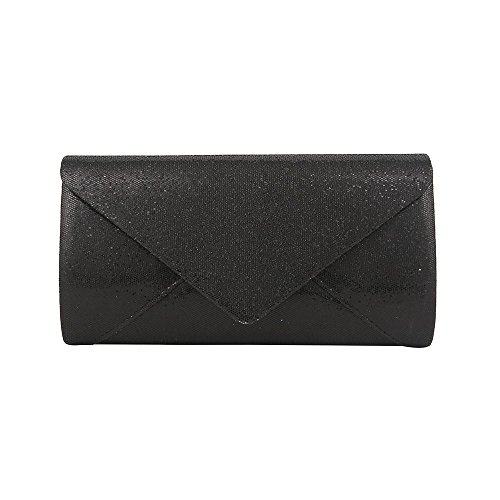LADIES GLITTER Black PROM ENVELOPE HOTSTYLEZONE EVENING PARTY SHIMMER BRIDAL CLUTCH WEDDING BAG AxqTwU