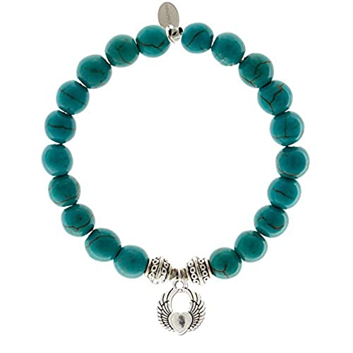 EvaDane Natural Turquoise Gemstone Tibetan Bead Winged Heart Charm Stretch Bracelet