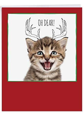 Fur Reindeer - Oversized 8.5 x 11 Inch 'Feline Graffiti Antlers' Xmas Card with Envelope - Brown Fur Coat Cat with A Doodled Reindeer Antlers on its Head Ready for The Christmas Season - Animal Stationery J6583GXSB