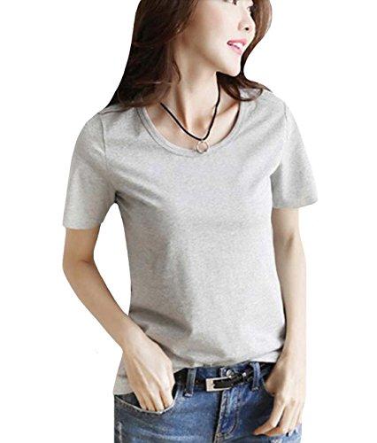 目的トランスペアレント部分GFMADE Tシャツ レディース 半袖 カットソー 無地 ゆったり トップス ラウンドネック カジュアル シンプル 白 通勤 通学 大きいサイズ