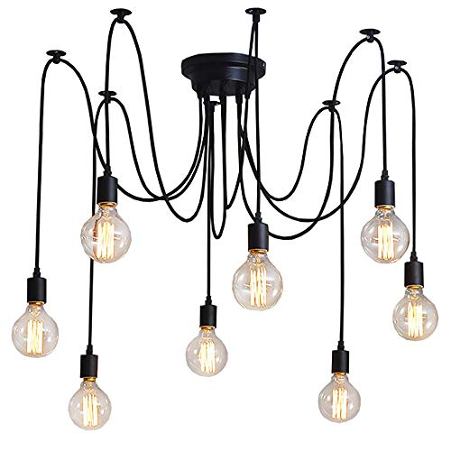 8 Lights Retro Industrial Light Chandelier E27 Black Pendant Lamp Ajustable DIY Spider Fixture Compatible Vintage Hanging Light Dining Hall Bedroom Hotel Decoration (Each with 1.5m Wire)