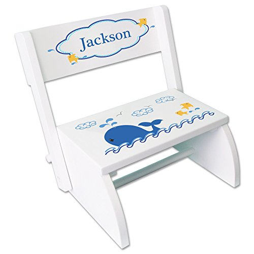 Personalized Blue Whale Childrens and Toddlers White folding stool by MyBambino