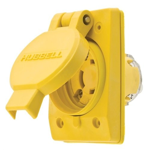 (Hubbell Wiring Systems 65W34H Twist-Lock TPE Watertight Receptacle, 2 HP, 15 amp, 277VAC, 2-Pole, 3-Wire Grounding, L7-15R, Yellow)
