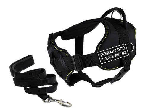 Dean & Tyler's DT Fun Chest Support ''THERAPY DOG PLEASE PET ME'' Harness, X-Large, with 6 ft Padded Puppy Leash.