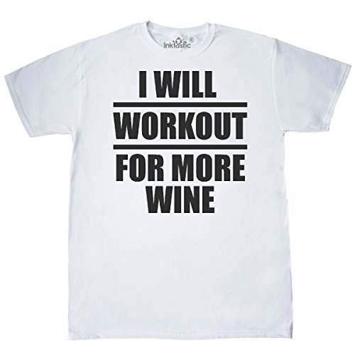 inktastic Will Workout For More Wine T-Shirt XXX-Large White - 828 Wine