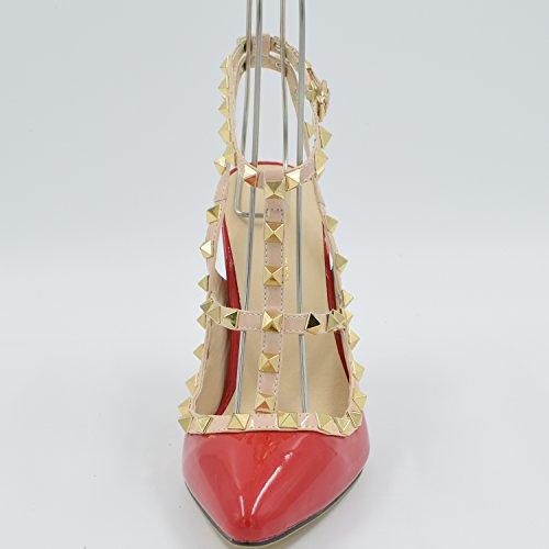 Oasap Damen T-spang Stiletto High Heels Sandalen Pumps mit Nieten, Red EURO35/US4/UK2