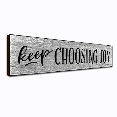 Keep Choosing Joy Wall Art Décor Plaque – 16 x 35 Inches  Motivational Quote on Wooden Frame  Handcrafted in an Amish Community in USA From Real Pine Wood Housewarming Gift Ideas Weathered Gray
